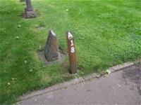 Wood post block marker