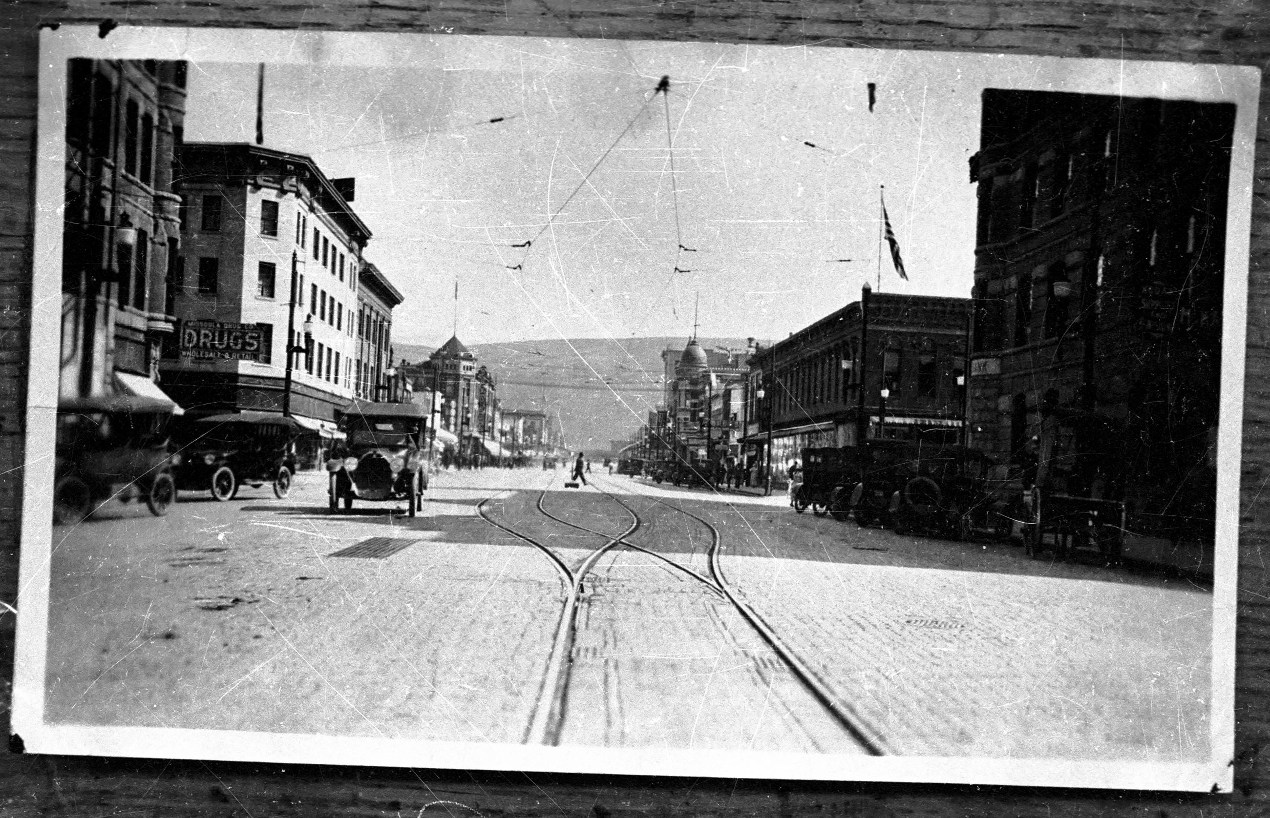 Photo of Higgins Avenue with trolley tracks