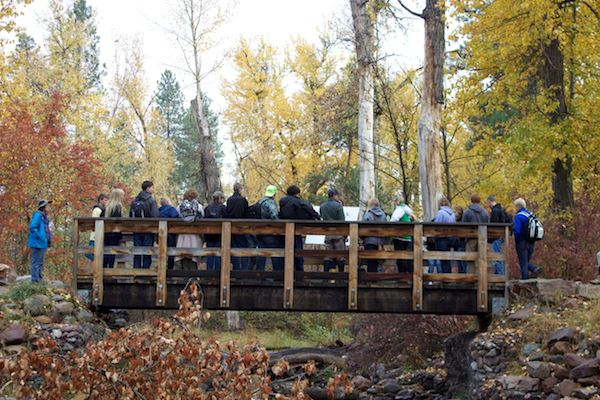 People on a wooden bridge